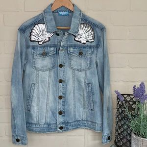 MuMu Blue Jean jacket NEW drine sequin overcast XS